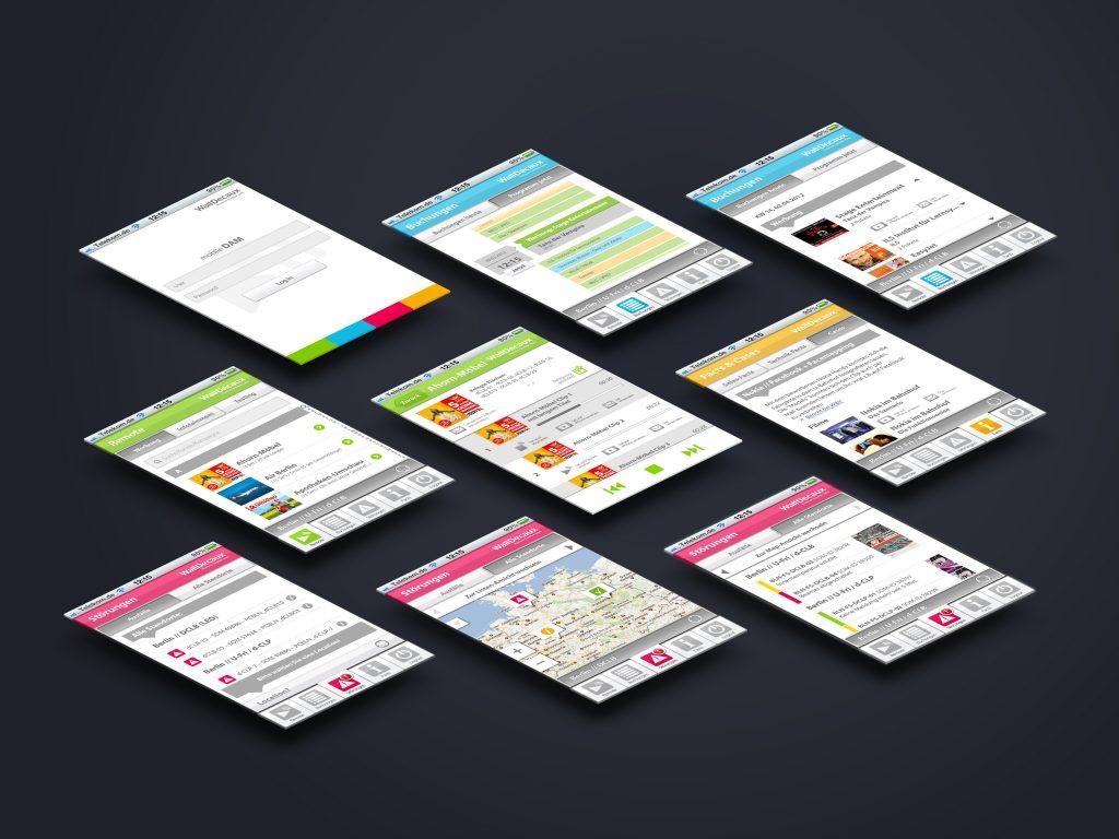mobile DAM App Screens