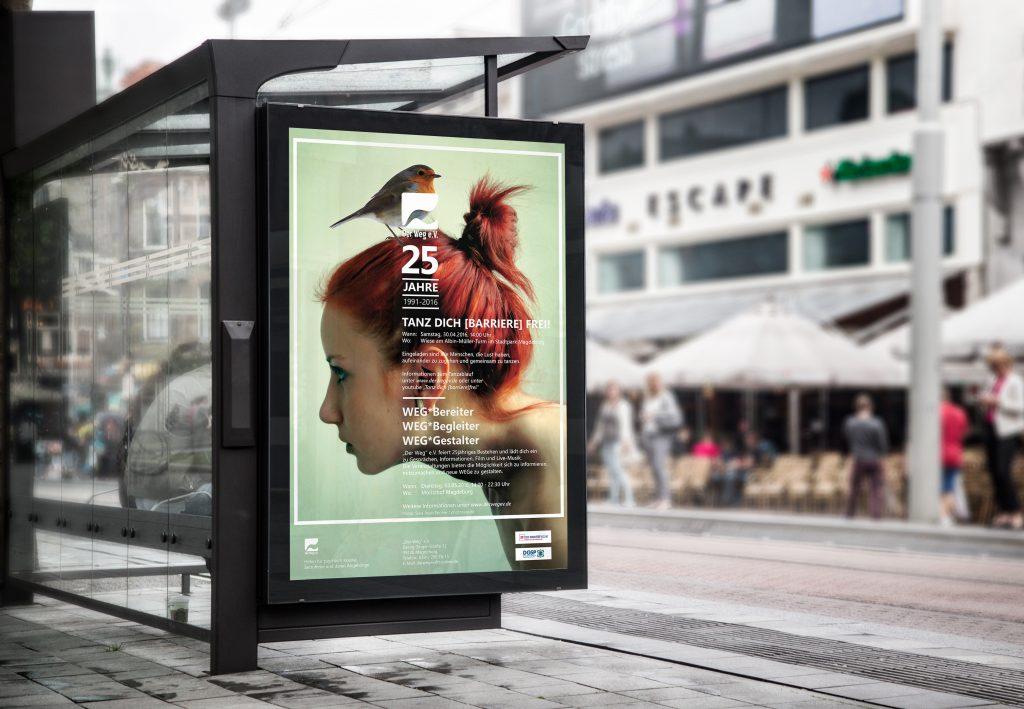 """Plakat zum 25. Jubiläum in Wartehalle """"Der Weg"""" e.V."""